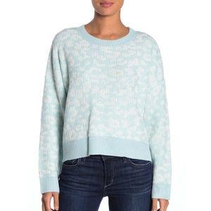NWT John + Jenn Cheetah Print Mystic Blue Sweater